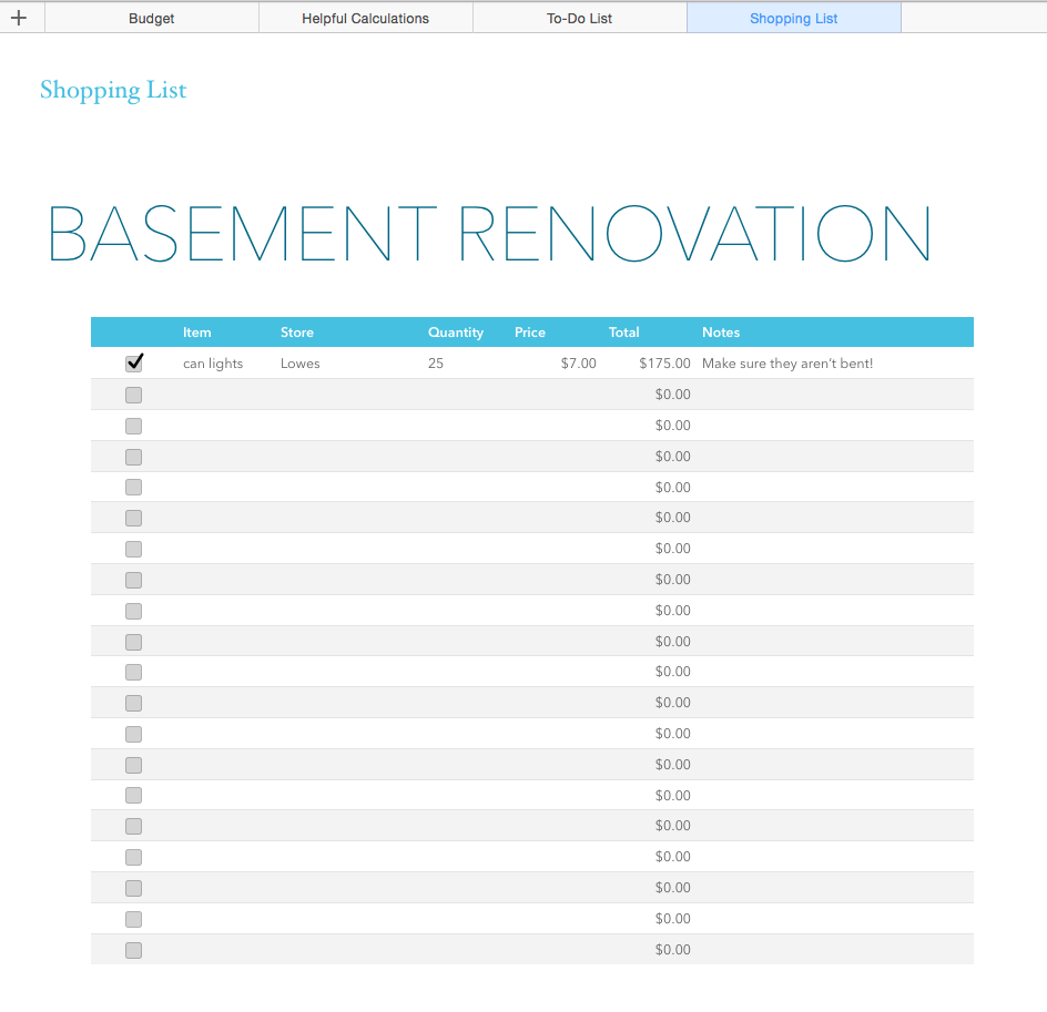 Basement Renovation Budget—Excel Template - Rachel Rossi