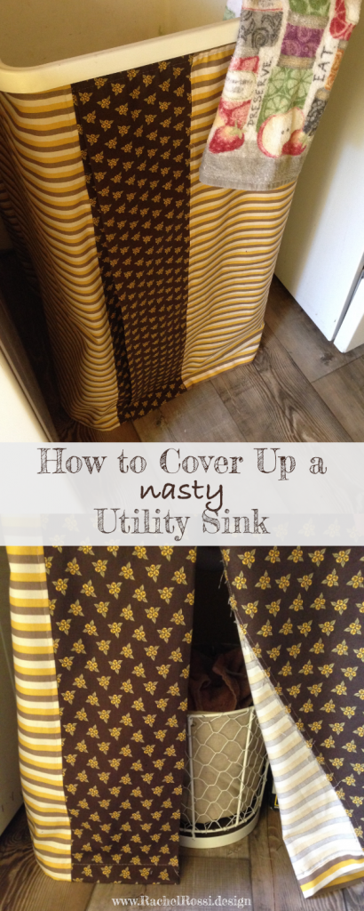 A sewing tutorial on how to cover up a utility sink with a sink skirt!