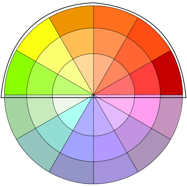 warm colors on color wheel