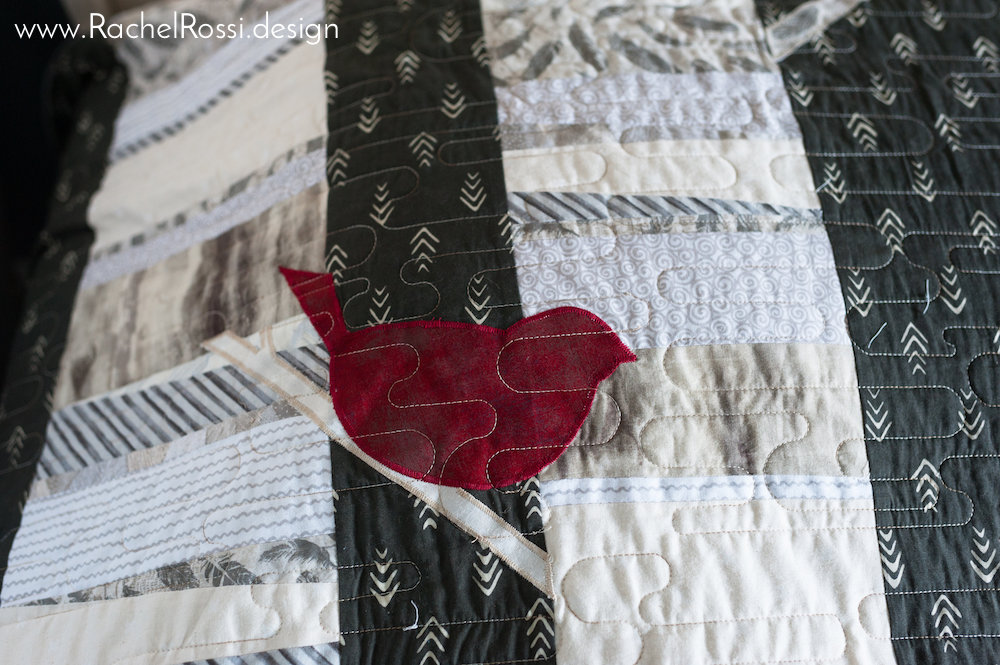 woodland quilt with bird