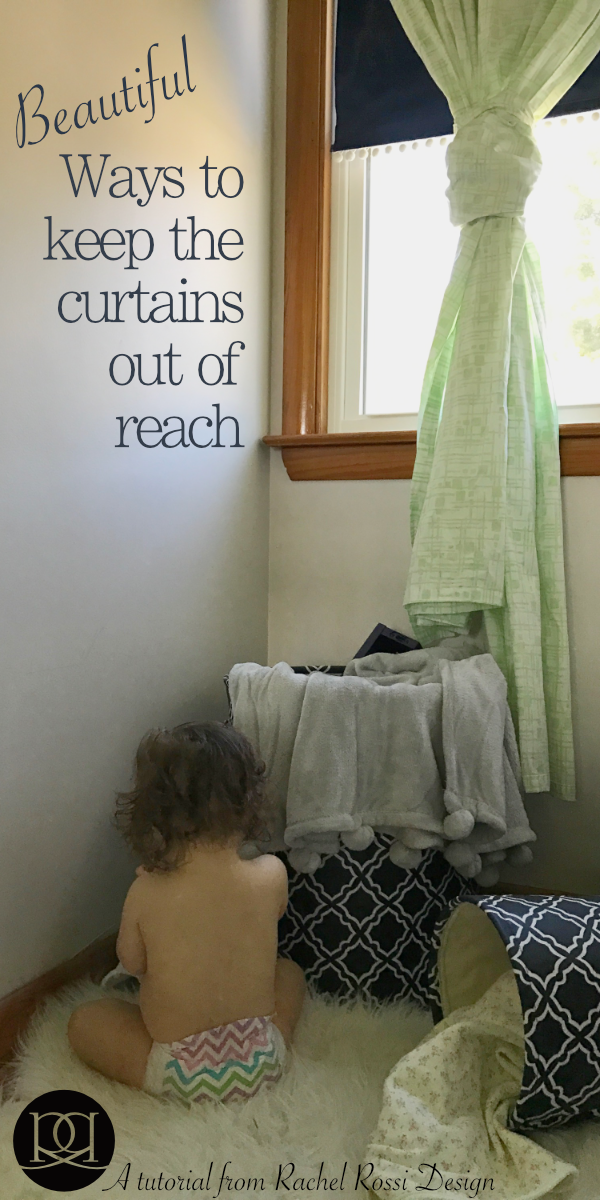 Tips and tricks for shortening your long curtains without cutting and sewing! A great guide for keeping curtains and drapes out of the reach of children.