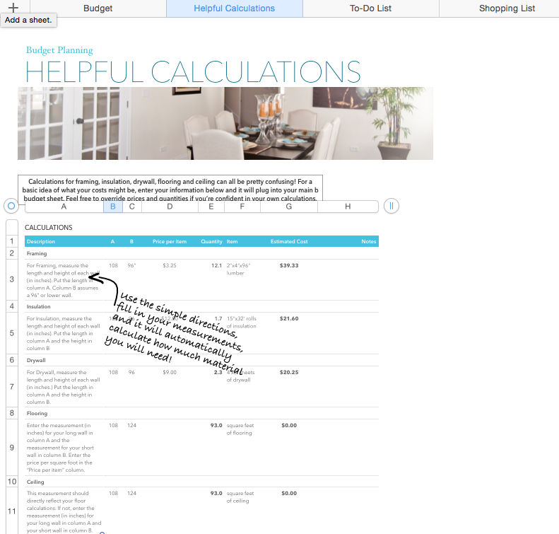 Basement Renovation Budget—Excel Template