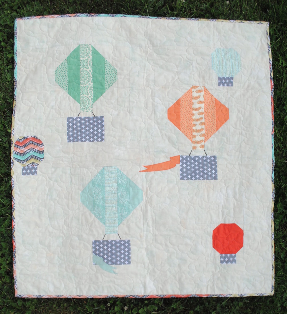 Baby Quilt Patterns.Head In The Clouds Hot Air Balloon Baby Quilt Pattern Rachel Rossi